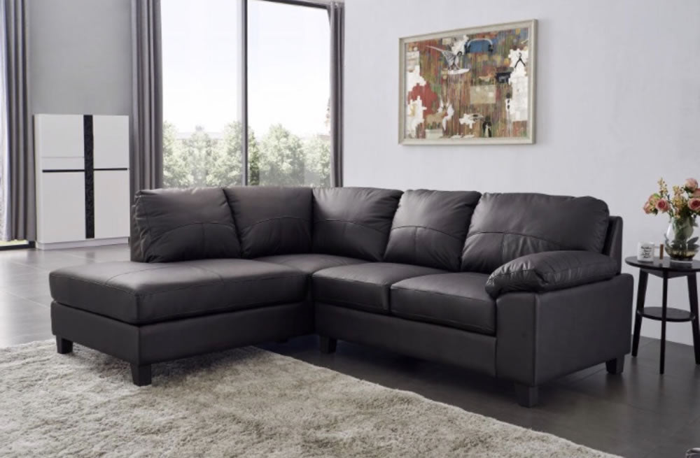 Black Leather Corner Sofa - SD203