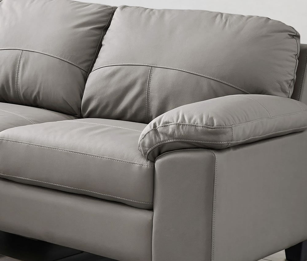 Grey Leather Corner Sofa - SD203