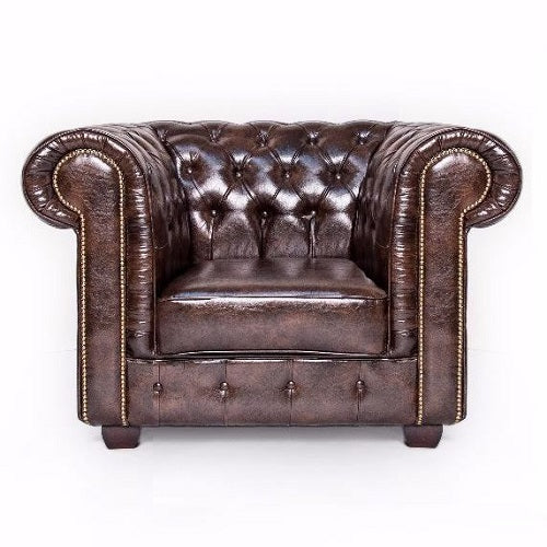 Antique Brown Chesterfield Leather Club Chair - SD061