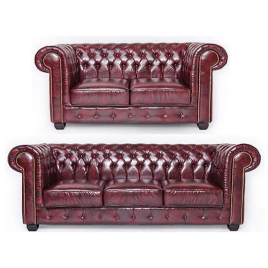 Oxblood Red Chesterfield Two Piece Sofa Set - SD061