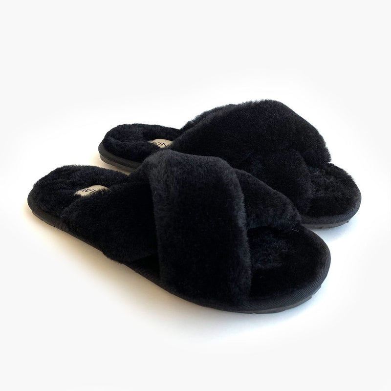 Cozy Criss Cross Sheepskin Slippers