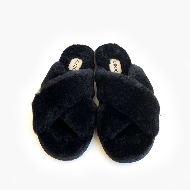 Ayla Cross Sheepskin Slipper