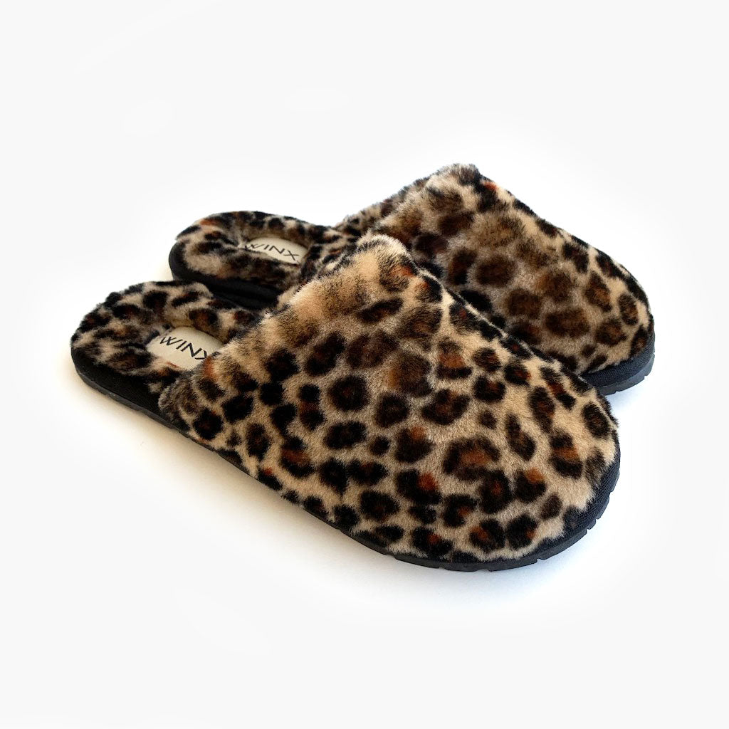 Cozy Leopard Sheepskin Slippers