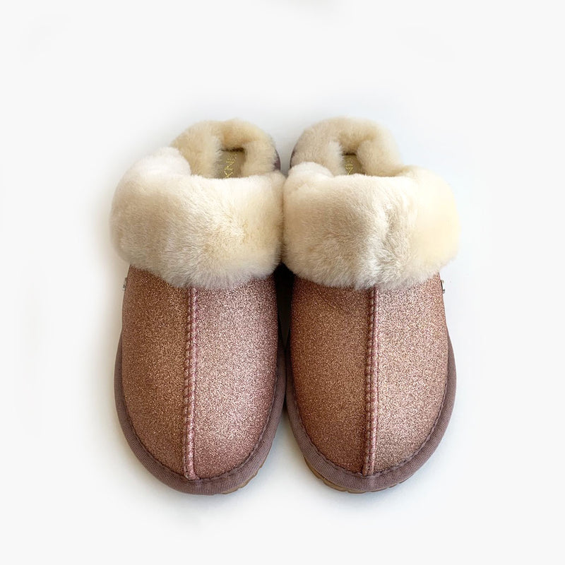 Cozy Sparkle Sheepskin Slippers