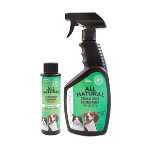Stink Free All Natural Stain & Urine Odor Eliminator & Remover for Cat & Dog, Makes 1 Gallon of Solution, Microbial & Enzyme Based Pee Cleaner Destroyer for Carpets, Hardwoods, Tile & more!
