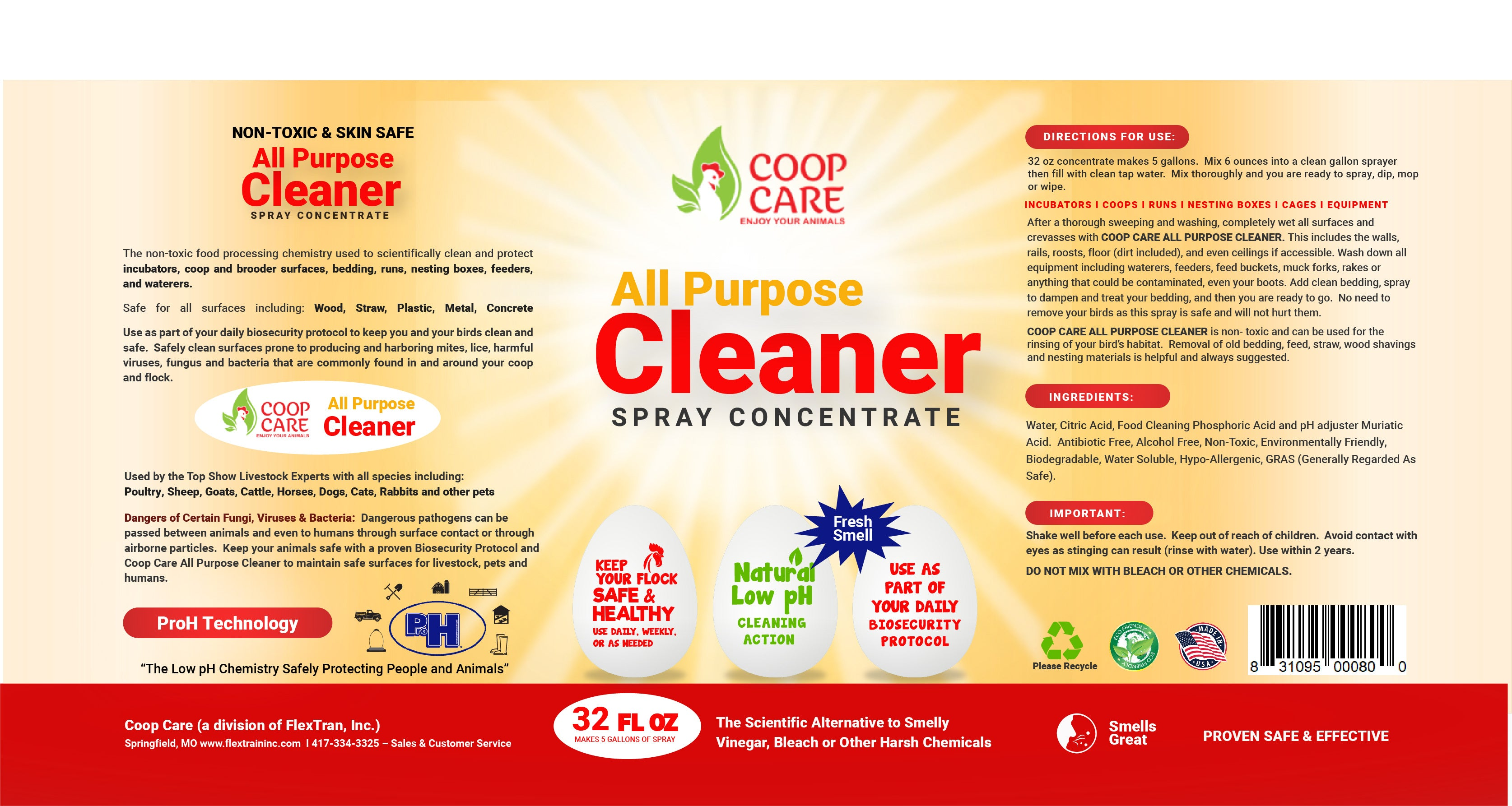 Coop Care All Purpose Cleaner 32oz Spray Concentrate