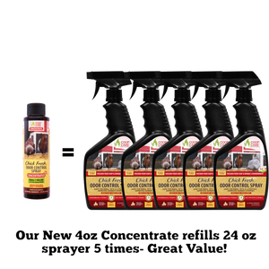 Chick Fresh - Eliminate Chicken Coop & Brooder Odor Concentrate (4 oz makes 1 Gallon of Spray!)