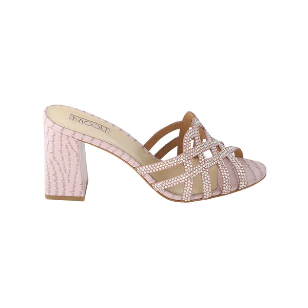 Women's Peach Leather Crystal Embellished Block Heel Sandal, ALMER