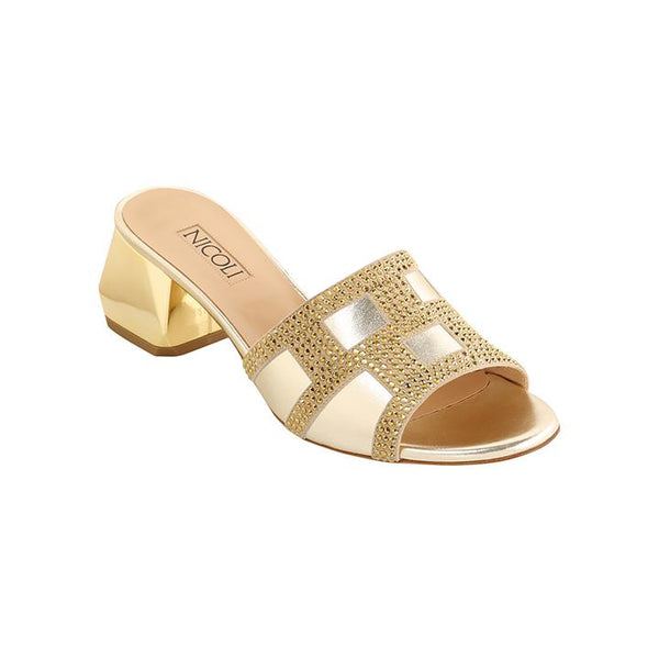 Women's Gold Metallic Leather Crystal Embellished Block Heel Sandal, BRIELA