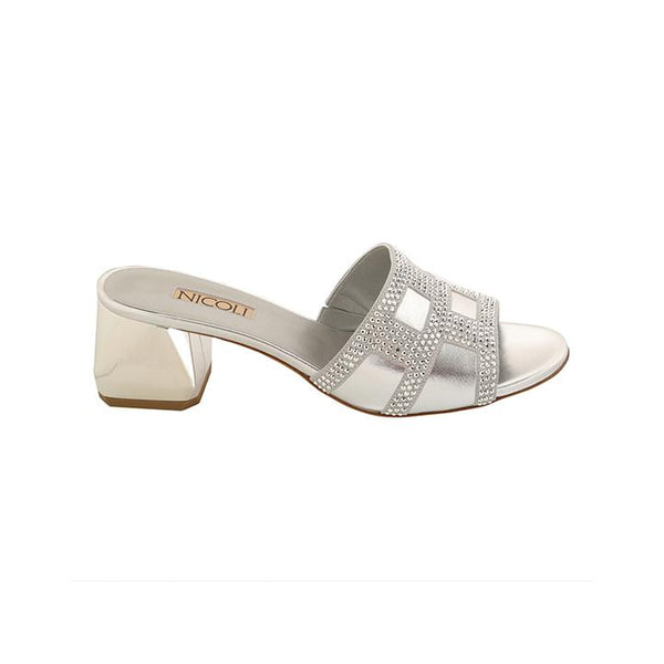 Women's Silver Metallic Leather Crystal Embellished Block Heel Sandal, BRIELA