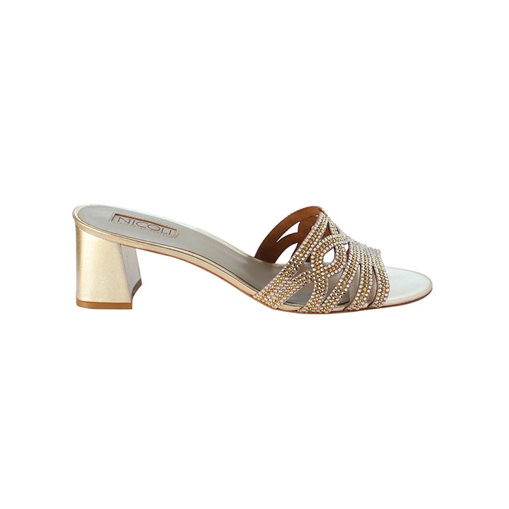 Women's Gold Metallic Leather Crystal Embellished Block Heel Sandal, EIVET