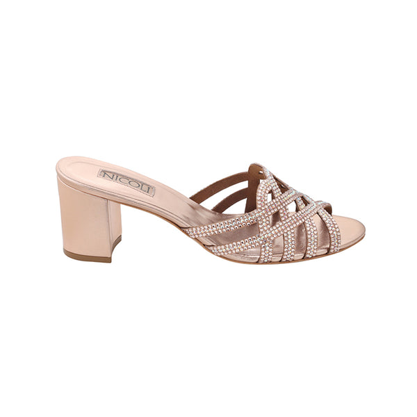 Women's Rose Metallic Leather Crystal Embellished Block Heel Sandal, HAYDEN