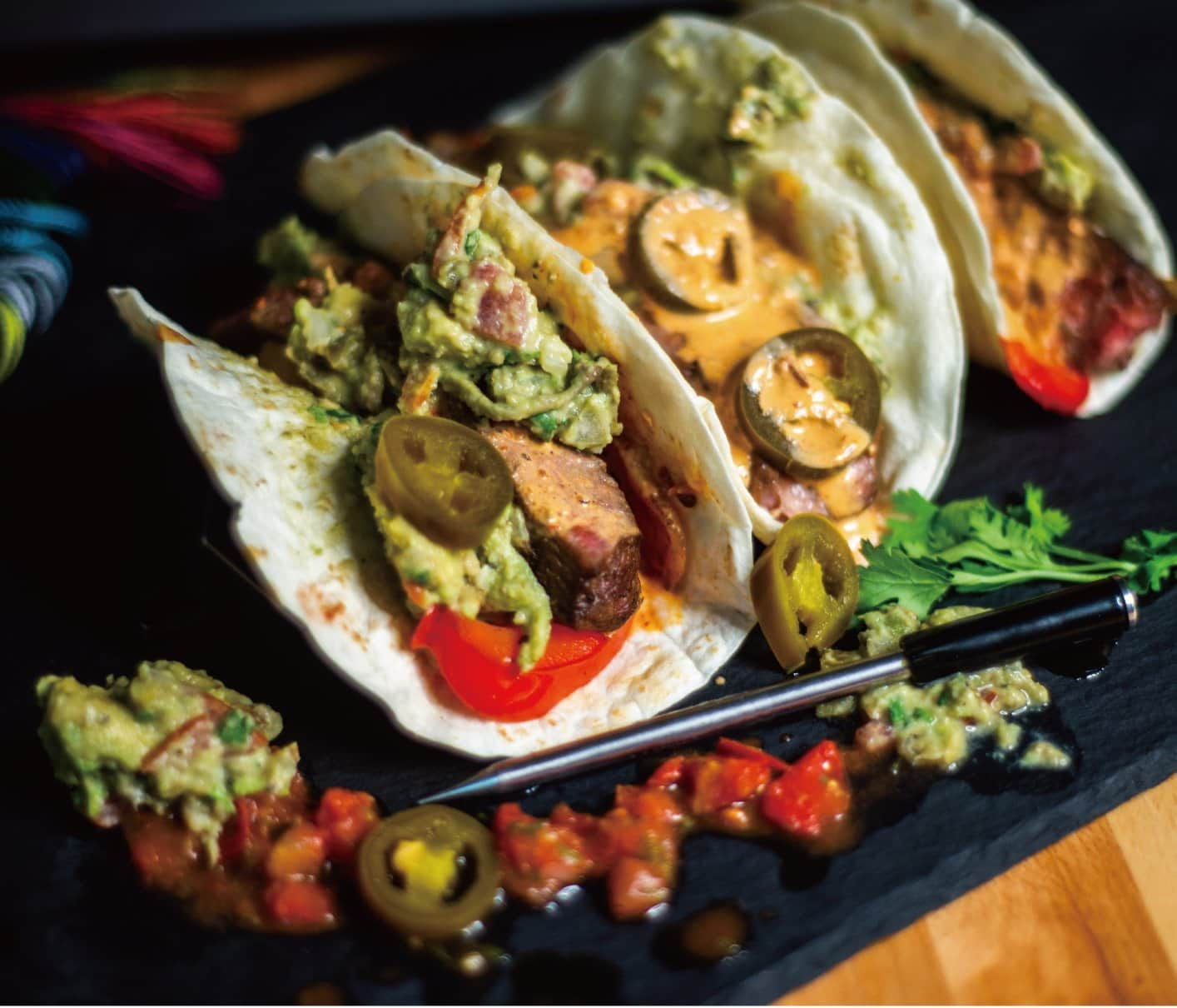 Beef Fajita Tacos with Jalapeno and Avocado with MeatStick Meat Thermometer