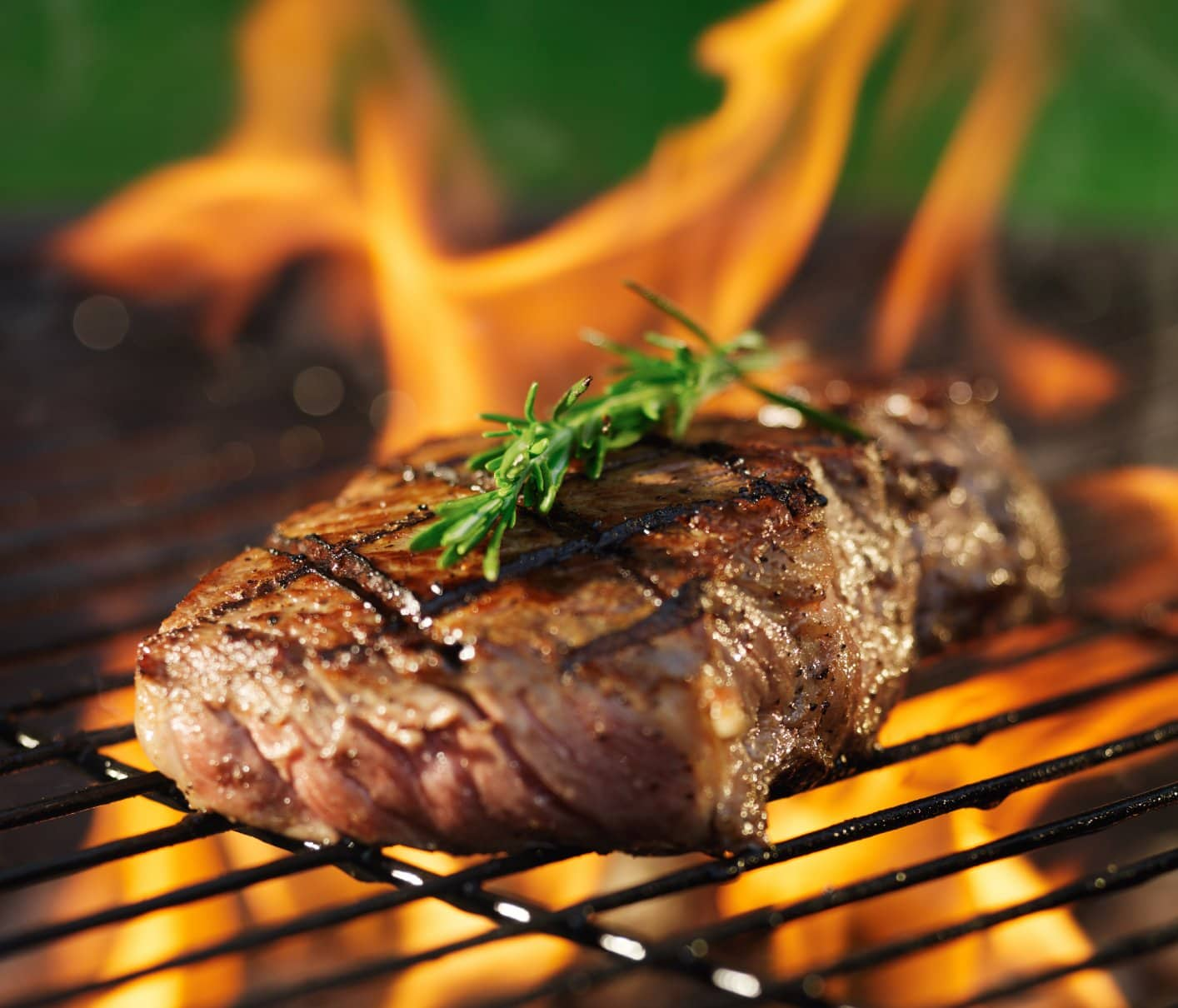 A steak on a grill garnished with Rosemary