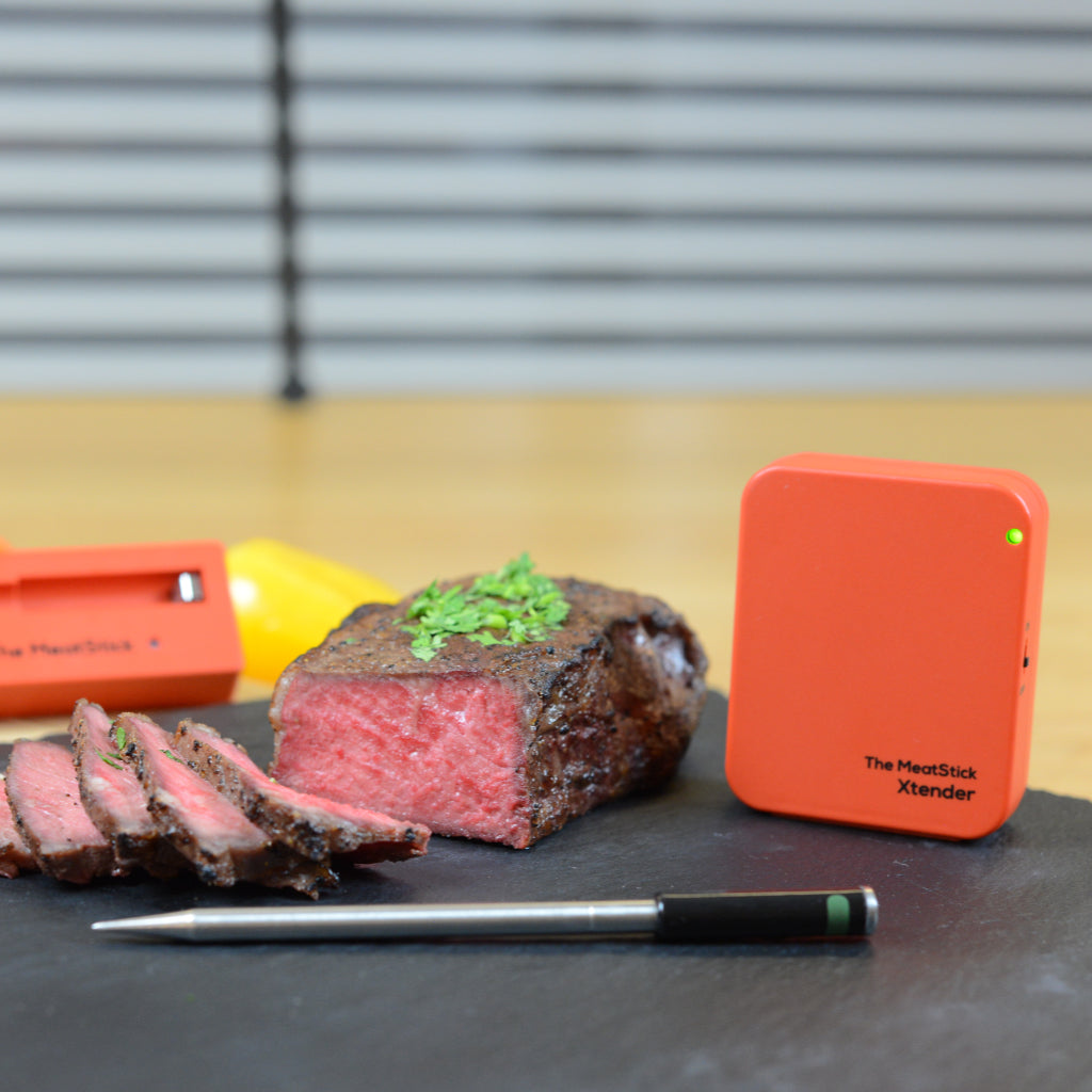 The MeatStick Xtender Set with a red meat