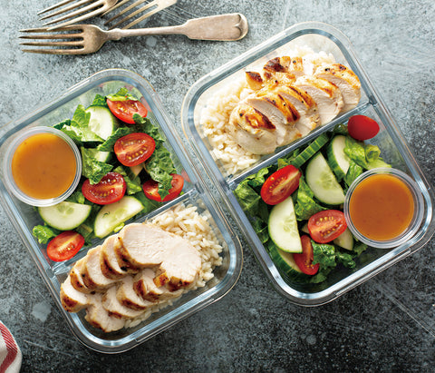 Healthy Chicken Breast and Salad with Rice and Dip