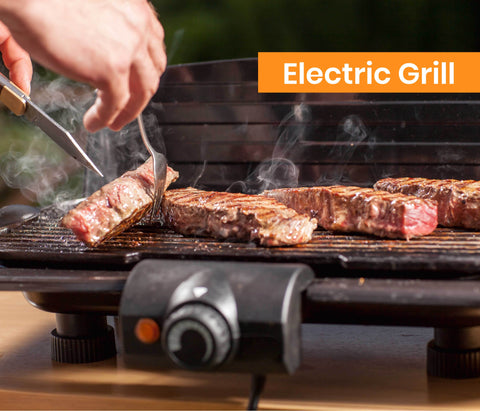 Electric Grill in action with Beef Cuts