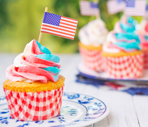 Ice cream with usa flag