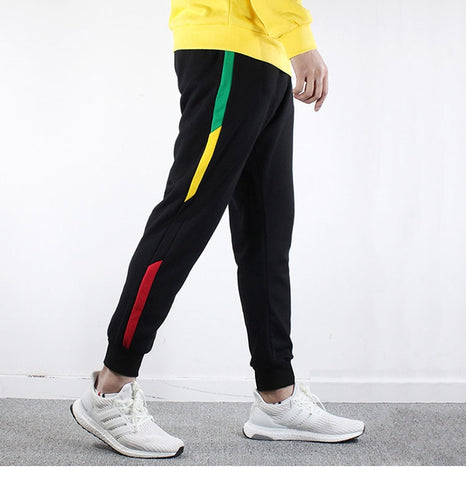 Limited Edition Premium Hip Hop Streetwear Joggers Pant New 2018 Harajuku Sweatpant Men Cotton Sweat Pants Side Striped Rainbow Trousers Black Bottoms