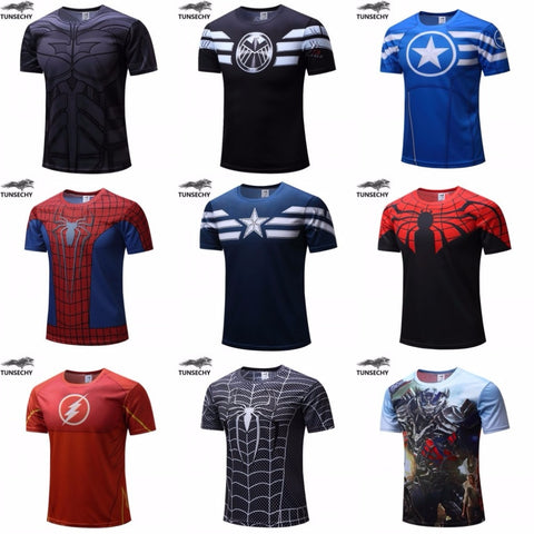 2019 Premium Superhero Fitness Men T-shirts