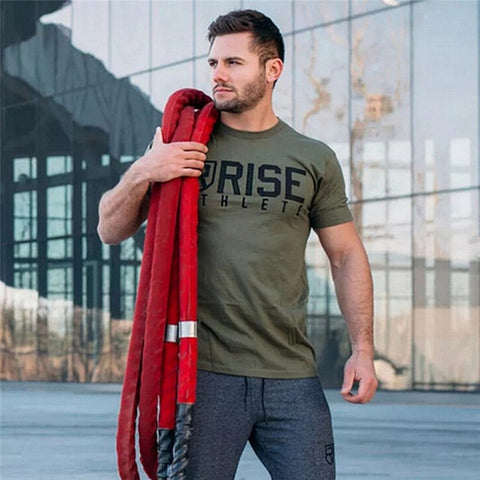 2018 Mens Summer Gyms Casual T Shirt Crossfit Gyms Fitness Bodybuilding Muscle Male Short Shirts Cotton Tee Tops Clothing