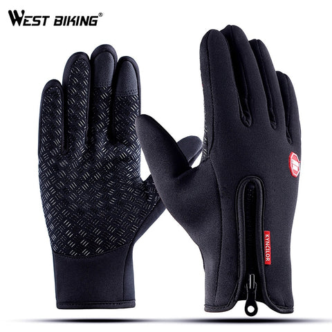 WEST BIKING Winter Warm Cycling Gloves Touch Screen Bicycle Gloves Outdoor Sports Anti-slip Windproof Bike Full Finger Gloves - Pro Lyfstyle Store