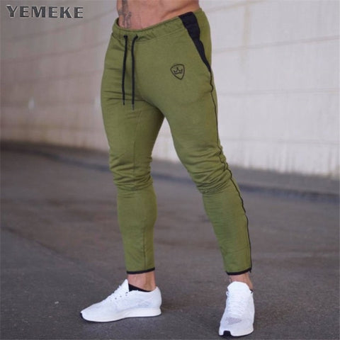 Mens Joggers Casual Pants Fitness Men Sportswear Tracksuit Bottoms Skinny Sweatpants Trousers Army green Gyms Jogger Track Pants