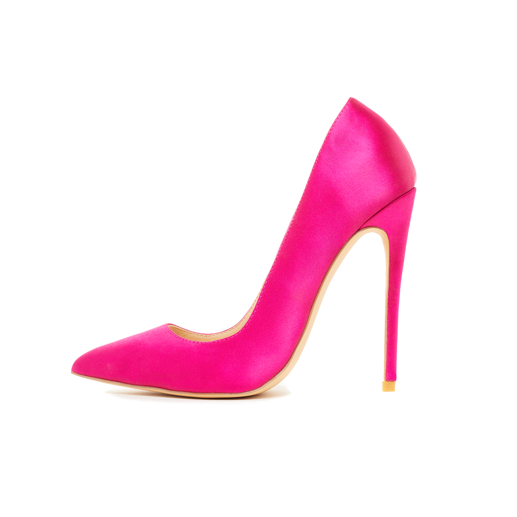 Gloria Hot Pink Vegan Satin Pumps