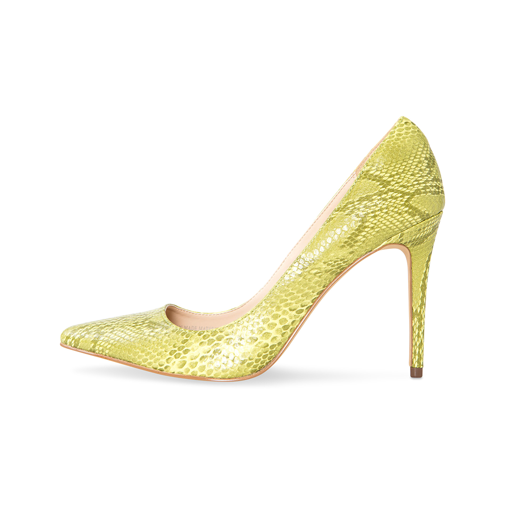 Azar Yellow Vegan Snake Pumps