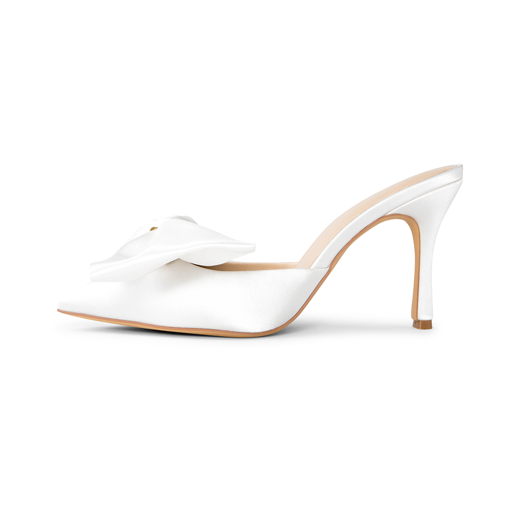 Di White Vegan Satin Removable Bow Mules