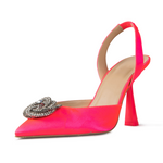 Eartha Hot Pink Satin Sling Backs