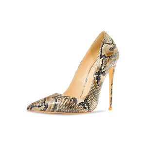 Gloria Beige Vegan Snake Pumps