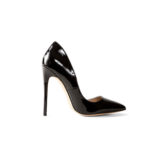 Gloria Black Vegan Patent Leather Pumps