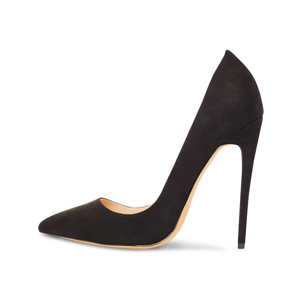 Gloria Black Vegan Suede Pumps