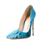 Gloria Blue Vegan Python Snake Pumps
