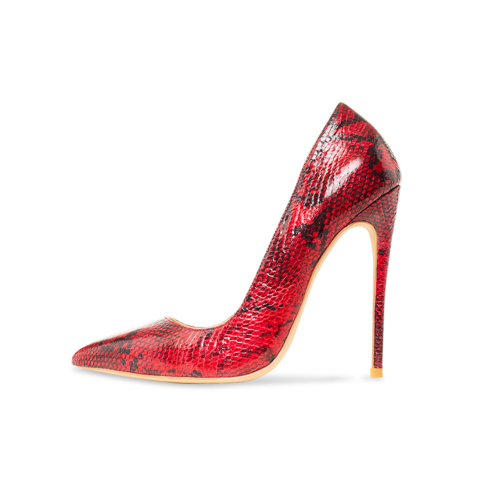 Gloria Red Vegan Snake Pumps