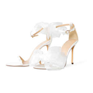 Jennifer White Vegan Satin Open Toe Bow Heels