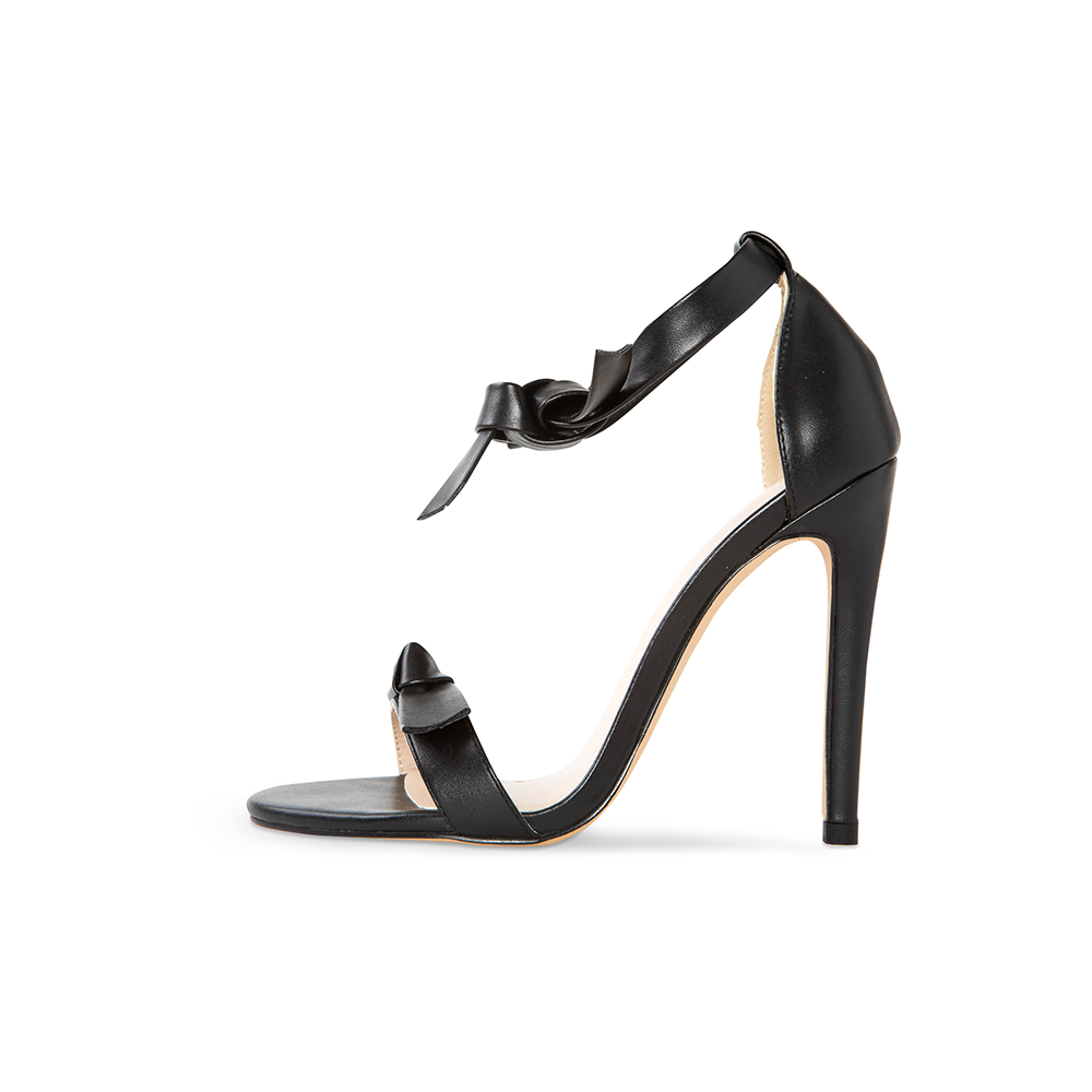 Pegah Black Vegan Leather Bow Heels