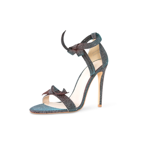 Pegah Vegan Blue Iridescent Bow Heels