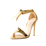 Pegah Gold Vegan Leather Bow Heels