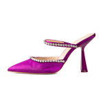 Sade Purple Satin Mules