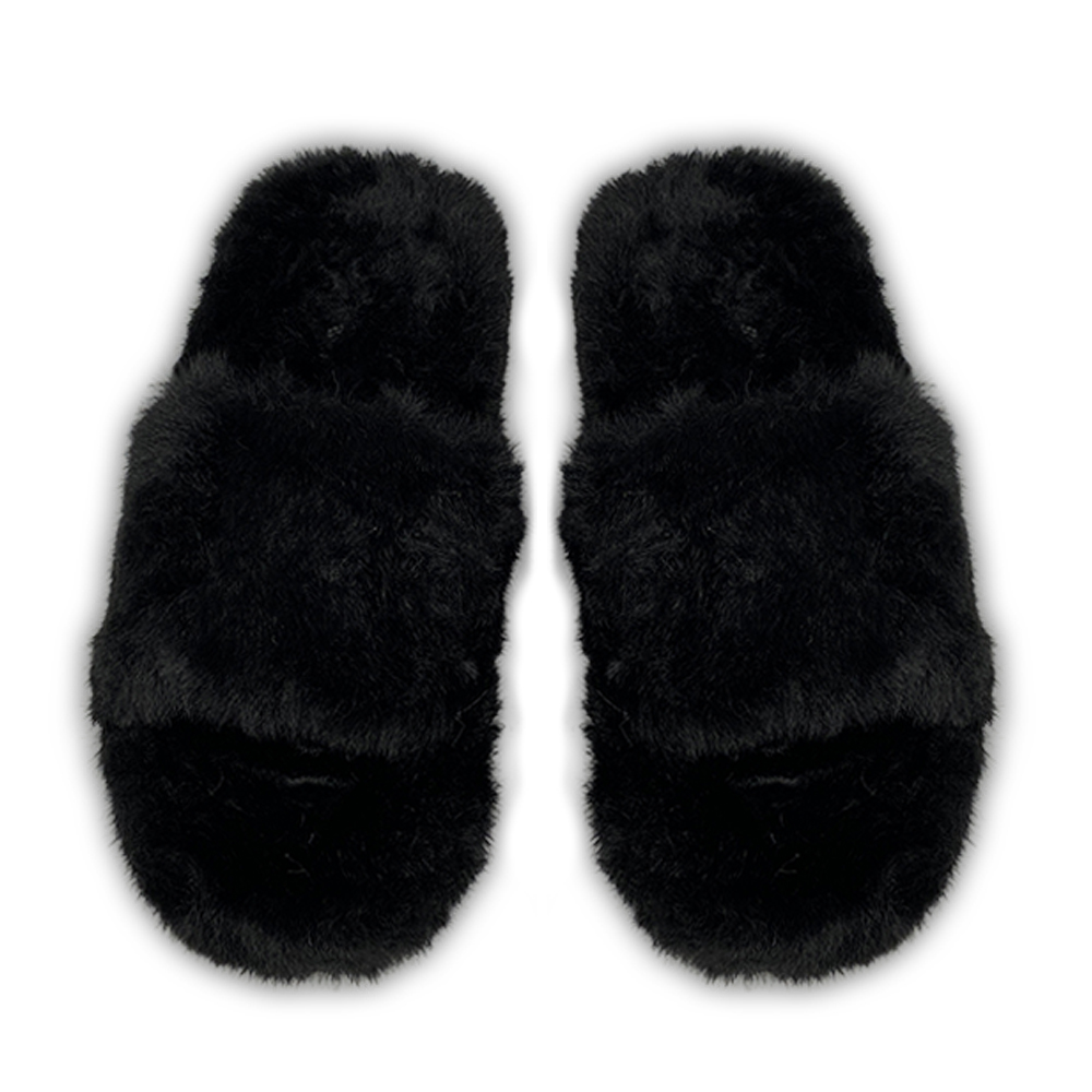Zsa Zsa Black Faux Fur Slides