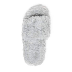 Zsa Zsa Grey Faux Fur Slides