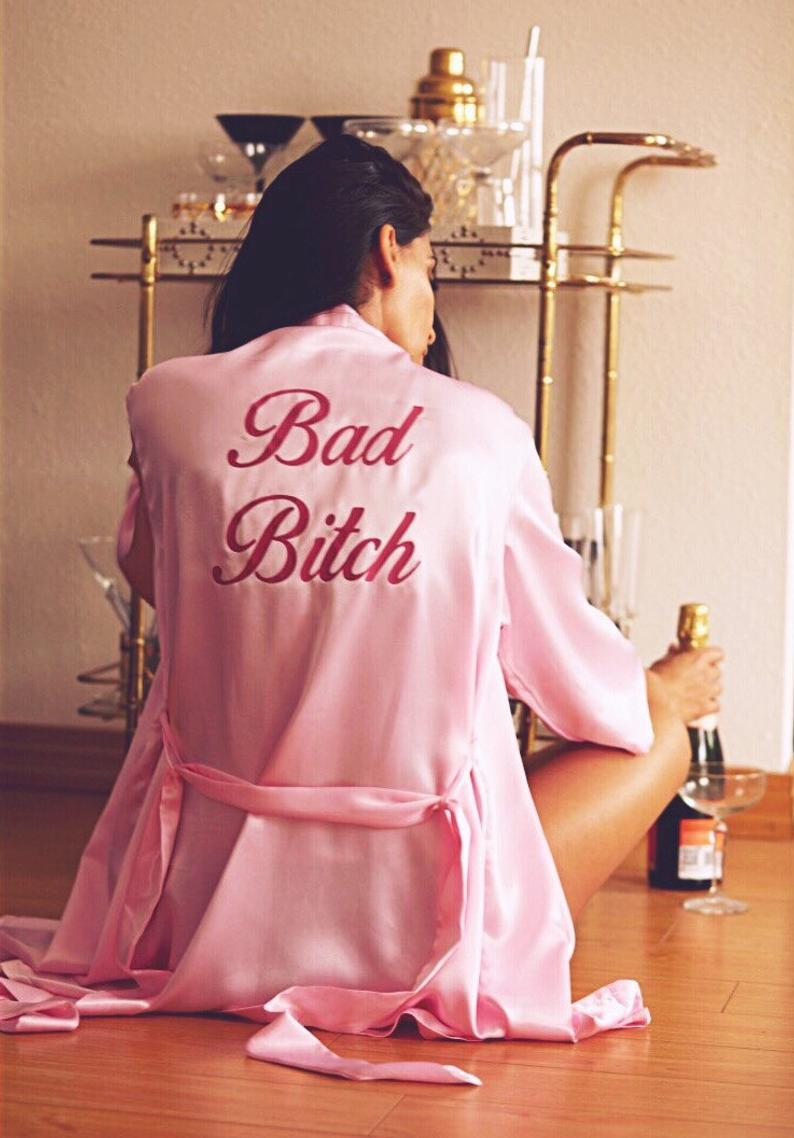 Bad Bitch Pink Vegan Satin Robe