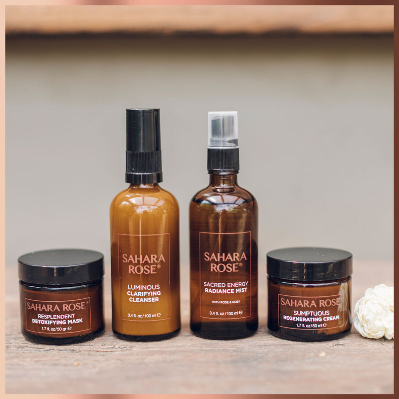 Sahara Rose Facial Radiance Ritual Gift Set in desert surroundings