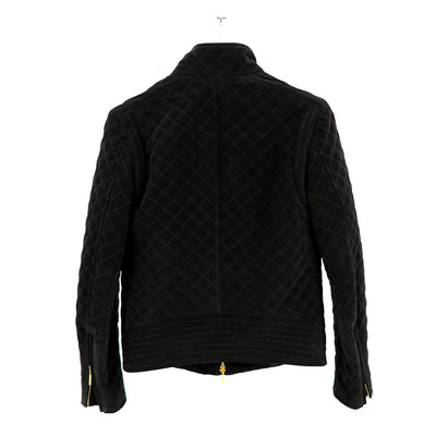 Black Quilted Suede Jacket