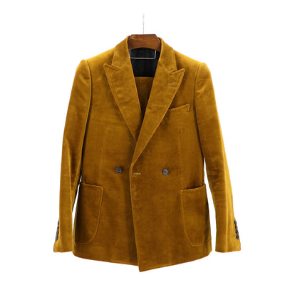 "Gold Liquid Velvet  ""Benton Peak Lapel"" 2B DB Suit"