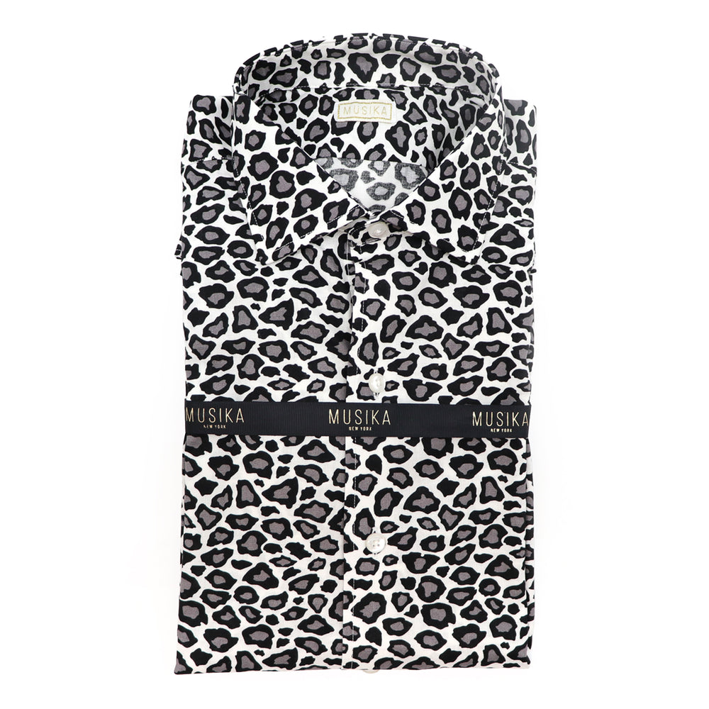 White/Black Cheetah Print Shirt