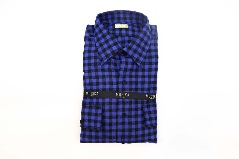 Blue/Black Enlarged Gingham