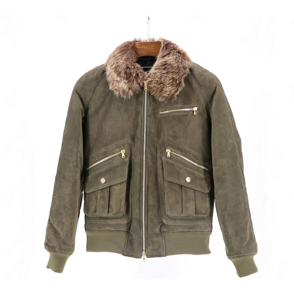Military Green - Suede Bomber Jacket